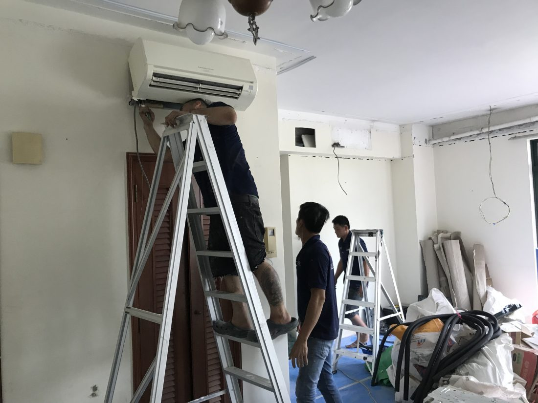 installation of Midea Aircon at condo unit