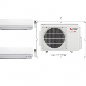A picture describing a system 2 air-conditioner with 1 aircon condenser and 2 fancoil unit
